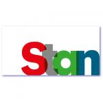 babykaart met de naam stan. Design letters met transparant effect
