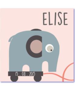 babykaartjes met een olifantje. Een origineel geboortekaartje uit de bijzondere collectie kaartjes van mevr. Moos