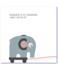 babykaartjes met een trekdiertje een olifantje