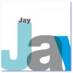 bijzondere geboortekaartjes met de naam jay. in blauw en grijs is de naam groots geschreven