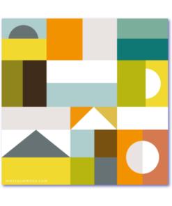 design geboortekaart is een kaartje met een kleurrijke blokkendoos. Een strak ontworpen babykaartje