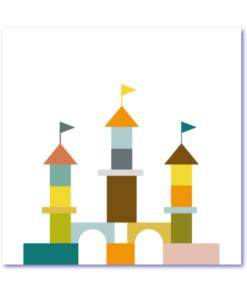 design geboortekaart met een origineel ontwerp, kleurrijk en symetrisch