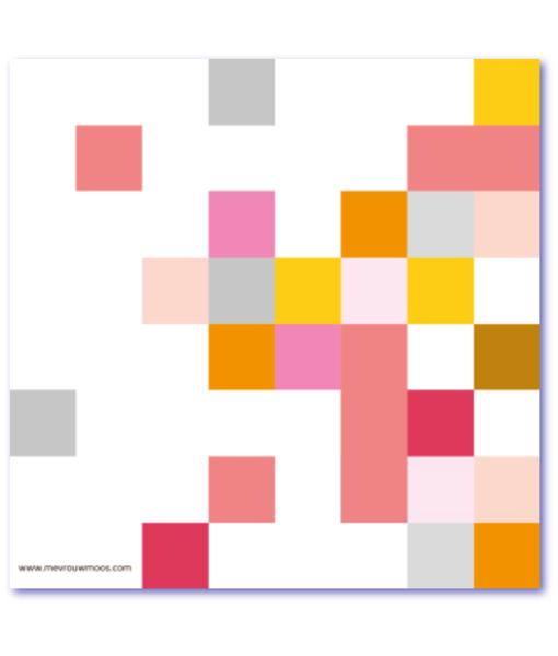 geboortekaart met vierkantjes en andere geometrische vormen