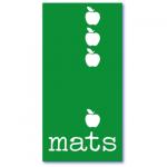geboortekaart appel met de populaire jongensnaam mats. Vier vallende appeltjes op een grasgroene achtergrond.