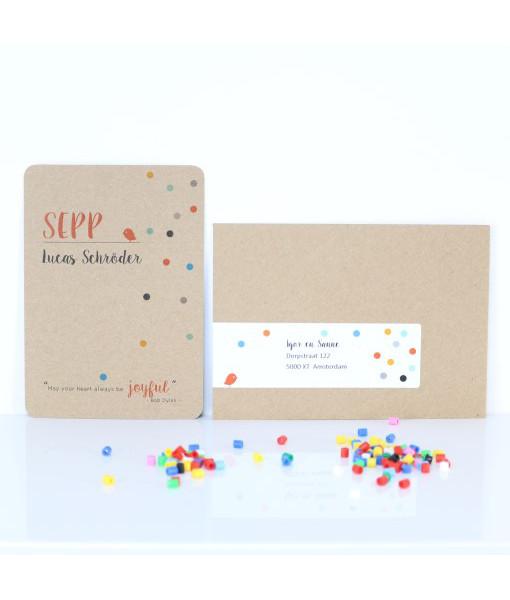 geboortekaart confetti