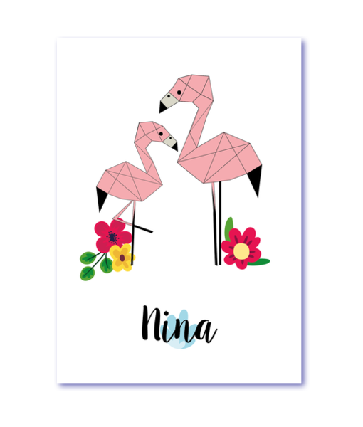 geboortekaart flamingo