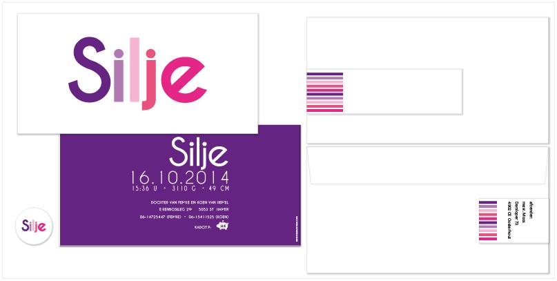 all-in pakket geboortekaartjes met gekleurde letters, enveloppen, adreswikkels en doopsuikerstickers