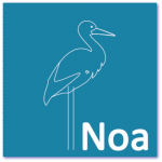 geboortekaart ooievaar met de naam noa. Strakke design geboortekaart met een ooievaar in lijntekening.