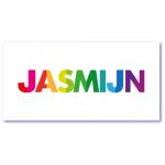 geboortekaart origineel met de naam jasmijn in alle kleurtjes van de regenboog