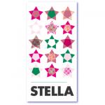 geboortekaart peertjes met de naam stella. De naam stella betekent ster, dus op deze geboortekaart talrijke gekleurde sterretjes