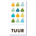 geboortekaart peertjes met de naam tuur. Een mooi design geboortekaartje met heel veel sappige en kleurrijke peertjes