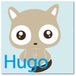 geboortekaart poesje met de naam hugo. Gestileerde stoere kat staat op de voorkant van dit originele geboortekaartje