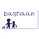 geboortekaart silhouet met de naam bastiaan. Grote broer is blij met de geboorte van zijn kleine broertje.