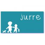 geboortekaart silhouet met de naam jurre. Silhouet van een peuter of kleuter en zijn kleine broertje.