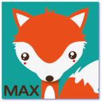 geboortekaart vosje met de naam max. Design kaartje met een oranje vos
