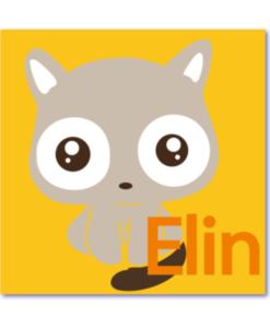 geboortekaarten meisje is een speciaal geboortekaartje met een kittig katje en de naam elin