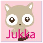 geboortekaarten meisje met de naam jukka. Een kat in roze en fuchia tinten op dit kaartje