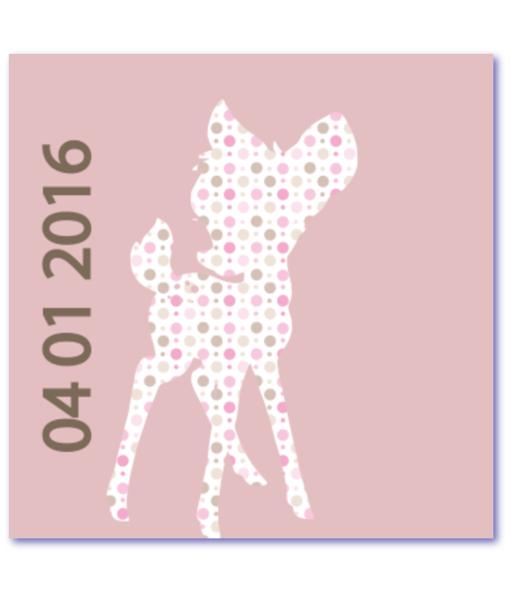 geboortekaartje bambi binnenzijde links. Origineel babykaartje met een trendy hertje in een lieflijk patroon. De kleuren zijn poederroze