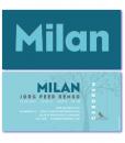 geboortekaartje blauw is een design geboortekaartje met op de voorkant in het groot de naam milan.