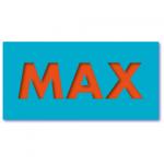 geboortekaartje blauw met de naam max. Origineel geboortekaartje in de kleuren blauw en oranje.