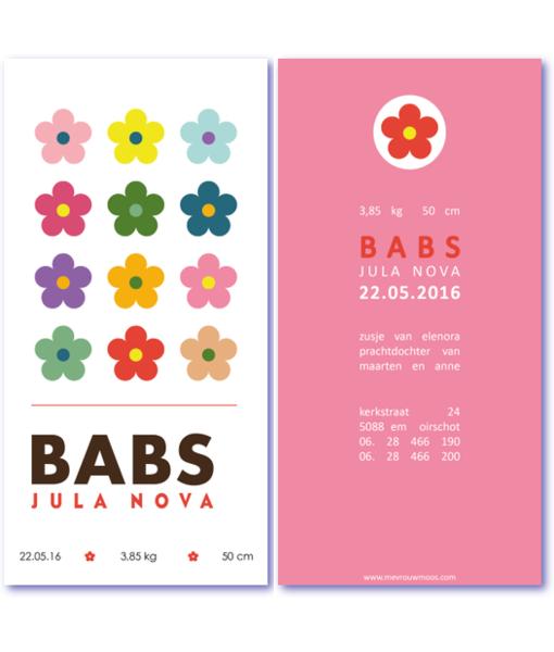 geboortekaartje-bloem-combi