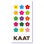 geboortekaartje bloem met de naam kaat. Kleurrijke bloemen in een herhaald patroon, op deze kleurrijke design geboortekaart
