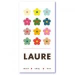 geboortekaartje bloem met de naam laure van jullie meisje. Bloemetjes in mooie zachte tinten op dit originele geboortekaartje van mevr. Moos