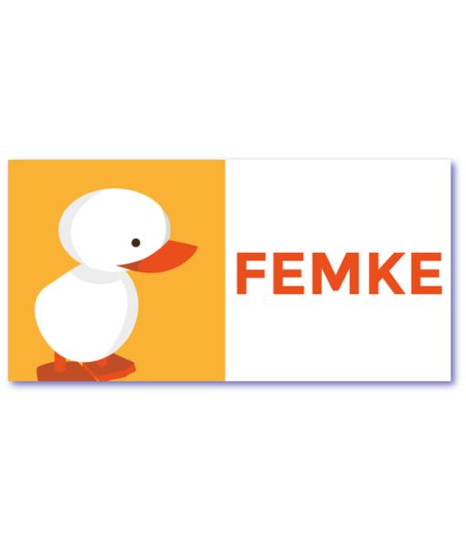 geboortekaartje eendje met de naam femke. Ik zoek een geboortekaart met een eendje