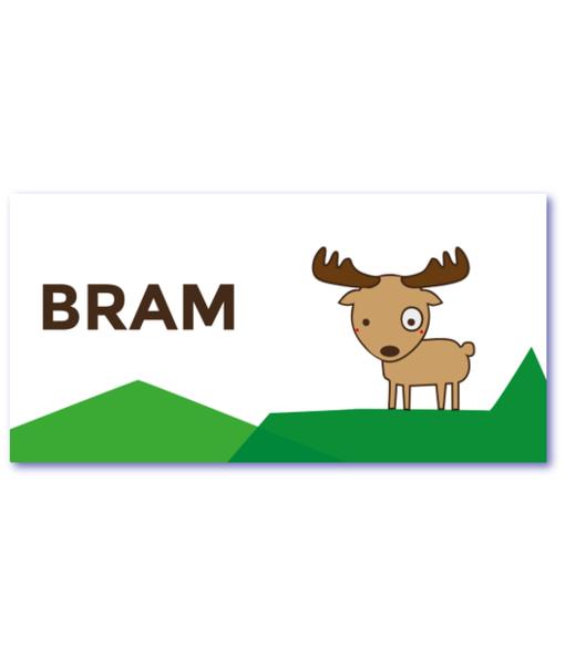 geboortekaartje eland met de naam bram. Een design geboortekaartje met elandje in een berglandschap