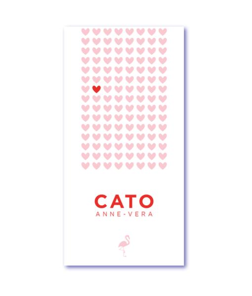 geboortekaartje flamingo met de naam cato. Apart geboortekaartje met flamingo silhouet en hartjes