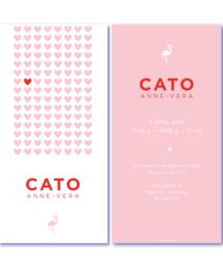 geboortekaartje hartjes met de naam Cato. Een uniek geboortekaartje met roze hartjes en flamingo