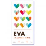 geboortekaartje hartjes met de naam eva en talrijke gekleurde lieve hartjes