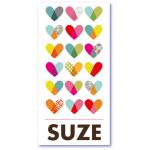 geboortekaartje hartjes met de naam suze. Strakke design geboortekaart maar ook lief door de talrijke gekleurde hartjes