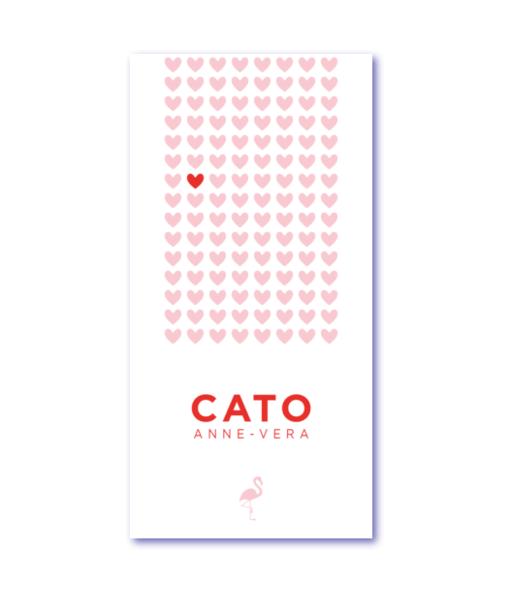 geboortekaartje hartjes met de naam cato. Een geboortekaartje voor jullie dochter met speciale hartjes en een flamingo