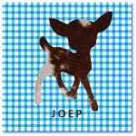geboortekaartje hertje met de naam joep. Origineel geboortekaartje met een hertje met het patroon van een zwart bonte koe en achtergrond met ruitjes patroon