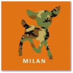 geboortekaartje hertje met de naam milan. Een design geboortekaartje met een hertje in legerpatroon, lief en stoer tegelijkertijd