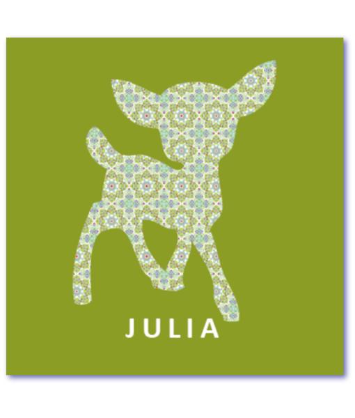 geboortekaartje hertje met de naam julia. Hip geboortekaartje met hertje en lief patroon