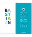 geboortekaartje jongen met de naam bastiaan. Een design geboortekaartje met de naam van jullie zoon in gekleurde letters op de voorzijde