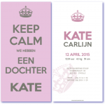 geboortekaartje keep calm, is een hip geboortekaartje in strak design volgens het less is more principe