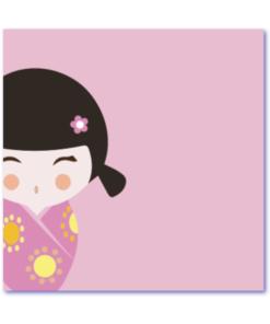 geboortekaartje kokeshi is een hip geboortekaartje met een lief popje