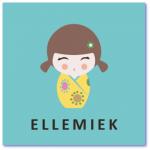 geboortekaartje kokeshi met de naam ellemiek. Ik zoek een uniek geboortekaartje voor onze dochter