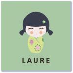 geboortekaartje kokeshi met de naam laure. Ik zoek een hip design geboortekaartje voor de geboorte van onze dochter