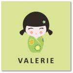 geboortekaartje kokeshi met de naam valerie. Hippe geboortekaarten die koop je bij mevr. Moos