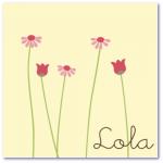 geboortekaartje bloem met de naam lola een fleurig kaartje