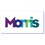 geboortekaart paars met de naam morris in transparante letters. vlot design in mooie paarse tinten gecombineerd met groen