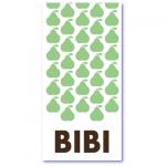geboortekaartje peer met de naam bibi. Vrolijke peertjes in een hip patroon