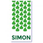 geboortekaartje peer met de naam simon. Grasgroene peertjes op dit originele geboortekaartje