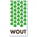 geboortekaartje peer met groene peertjes in een prachtig patroon met de naam van jullie peertje in bruine letters