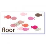 geboortekaartje vis met de naam floor en transparante visjes in de kleuren roze en grijs