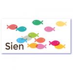 geboortekaart vis met de naam sien met visjes en gupjes,. Ik zoek een geboortekaartje met het sterrenbeeld vis